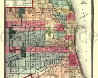 Vintage CHICAGO MAP - Old Map 1875 Chicago Illinois -  Instant Download Digital Printable Map