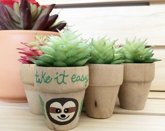 Sloth Favors, Sloth Planters, Retirement Party Take it Easy, Thanks for Hanging Favors, Small Succulent Pots, Thank You Sloth Party Favors