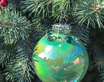 Green glitter and crystal ornament