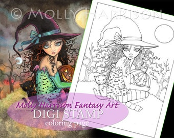 Halloween Hill - Digital Stamp - Printable - Halloween Witch and Cat - Fantasy Art - Digi stamp Coloring Page JPG - 8.5 x 11