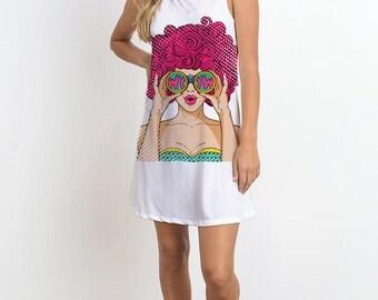 Sleeveless Dress W Polka Dots Girl Printed Dress