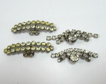 Vintage Rhinestone Shoe Clips  - 2 Pairs - 40s-50s