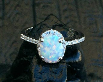 White Fire Opal Ring-Opal-Opal Ring-Halo Ring-Promise Ring-Engagement Ring-Silver Opal Ring-CZ Opal Birthday Gift-Lab Opal Ring