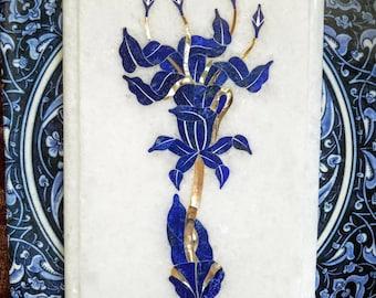Inlaid marble decorative art, inlaid marble plate,  inlaid marble flower, lily art, inlaid marble lily, India marble art, marble home decor