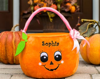 Girl Pumpkin Personalized Trick or Treat Basket, embroidered, pumpkin goody bag, Halloween, trick-or-treating, orange, candy -gfyE11878354