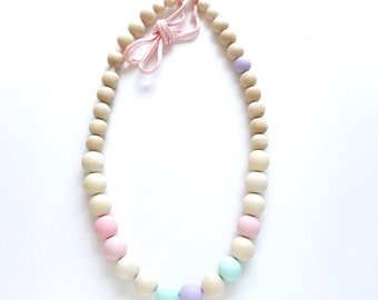 WOODEN BEAD GARLAND with natural and handpainted beads in pink, lavender, and mint - nursery decor, home decor, party garland