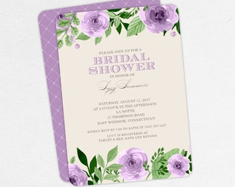 Bridal Shower Invitation, Printable Invitation, PDF Invitation, Printed Invitations, Watercolors, Flowers, Florals, Purple, Roses, jpg, Lucy
