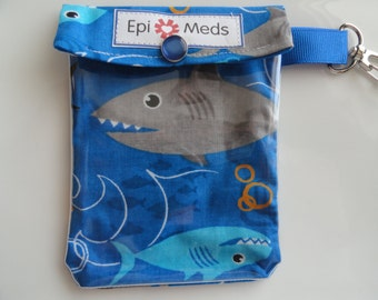 AuviQ Epi / Inhaler / Ouch Pouch Clear Front w Clip Holds 1 - 2 Auvi Q Style Allergy Injectors 1 Puffer 4x5 Shark Attack Fabric