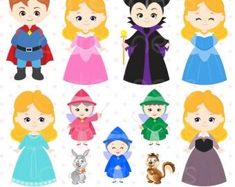 Princess Digital Clipart, Princess Clipart, Princess Clip Art, Sleeping Beauty Clipart