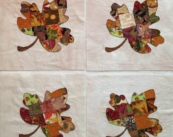Patchwork Maple Leaves  Appliqued Quilt Blocks