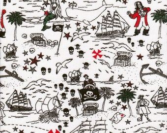NEW! Pirates treasure chest mermaids whales! Cotton lycra fabric bty batman inspired