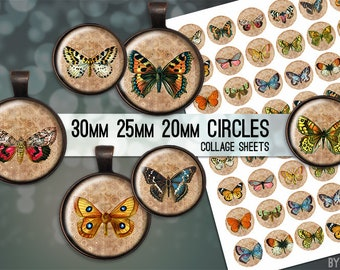 Vintage Butterflies Digital Collage Sheet 30mm 25mm 20mm Circle Download Sheets for Glass or Resin Pendants Cuff Links Round
