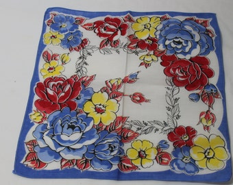 Vintage Floral Handkerchief With Blue, Red, and Yellow Flowers