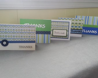 5 Thank You Cards Blue and Green Patterned