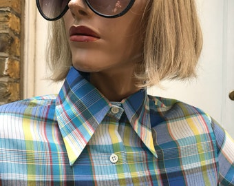 70s checked shirt with adjustable sleeves