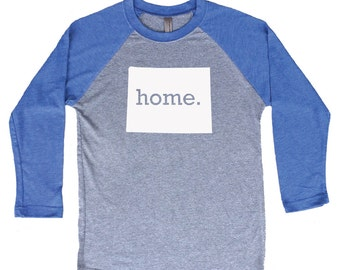 Homeland Tees Wyoming Home Tri-Blend Raglan Baseball Shirt