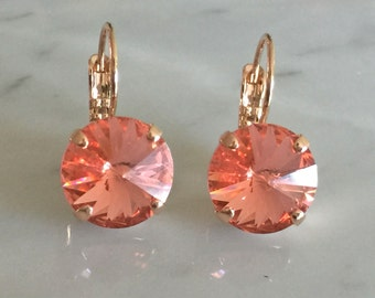 Rose Peach Swarovski Crystal Earrings, Rose Gold