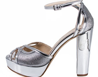 SINDO Silver Metallic Mirror Glitter High Heel Platform Handmade Wedding Sandal | Zerga Shoes