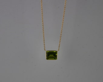 10x8 Emerald Cut Peridot Solitaire Necklace Set In 14K Solid Gold