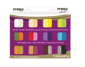 PREMO Sculpey Accents 24 bar Polymer Clay SAMPLER PACK Pearls Metallics Basics Polyform Oven Bake Clays