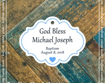 Personalized Baptism, Christening or First Communion God Bless Religious Favor Tags - Baby Boy Blue Border #769 - Quantity: 30 Tags