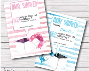 PRINTABLE: Handpainted, watercolor, cute, unique, customizable Baby shower invitations for a baby boy or a baby girl
