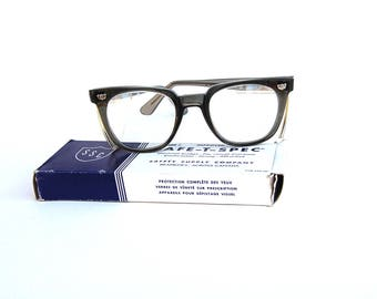 Vintage Willson Safety Glasses Charcoal Gray Rims Retro Spectacles Hipster Steampunk