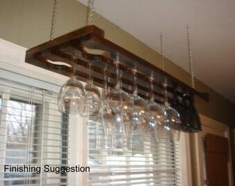 Wooden Hanging Wine Glass Rack 3 Row 32 Inch