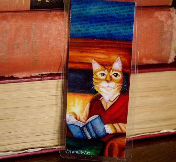 Orange Tabby Cat Reading Bookmark