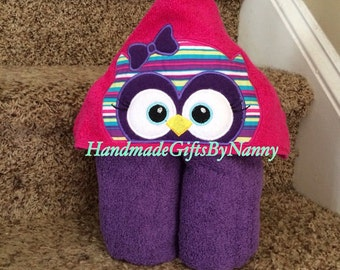 Girl Owl Hooded Towel