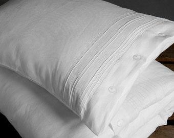 Linen Pillow case, Linen Bedding, Linen Pillow case, Organic White Linen Pillow case
