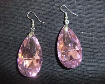 Vintage Earrings - Pink Crystal Dangle  Earrings - Stud Earrings