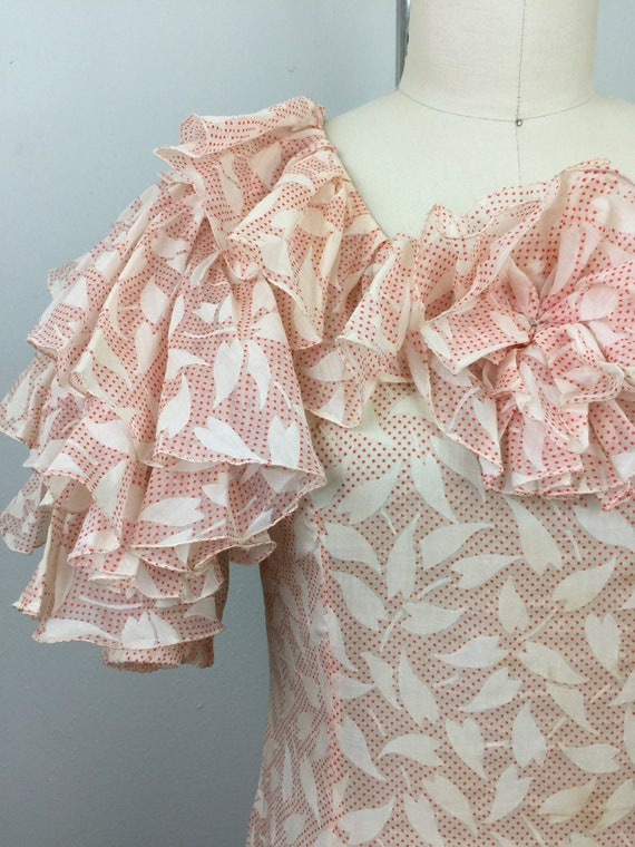 Ruffled Voile Dress 1930s Novelty Print 30s RARE Vintage Ow8qZ6a