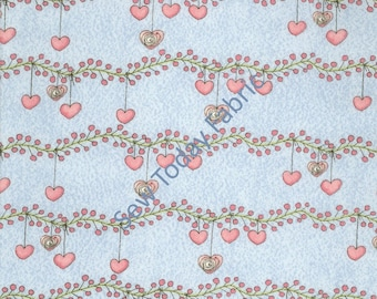 Hearts on Vines Blue - Bird Wise Collection - Studio E Fabrics - 2781-11 (sold by the 1/2 yard)