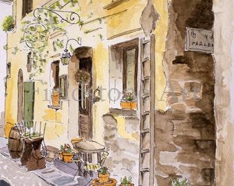 watercolour 5x7 art print Italy cafe Orta San Giulio Italian lake district