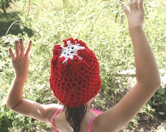 Red Sock Hat, Kids Beanie, Crochet Hat, Winter Cap, Child Christmas Hat, Sock Cap, Teen Beanie, Winter Hat, Kids Accessories