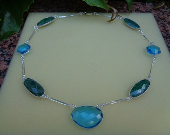 Emerald, Blue Topaz necklace in clear, beautiful design, Sterling Silver