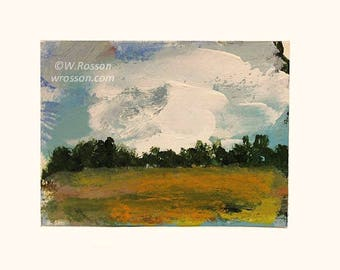 Original Landscape Painting, Artist Trading Card, ACEO, Original Art, Small format Art, Miniature Painting,Winjimir, Decor, Gift, Clouds,Sky