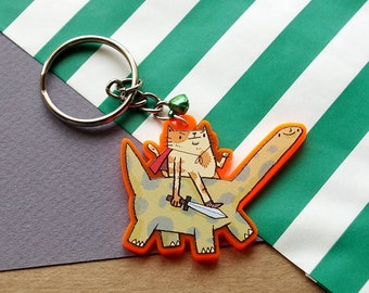 Cat and Dinosaur Acrylic Keychain / Funny Cat Keyring / Cute Dinosaur Acrylic Charm / Cat Lovers Gift / Gift For Friend / SoUnfunny