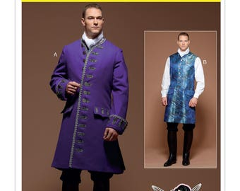 McCall's M7585 Men's 18th Century (1700's) Three-Quarter-Length Coat and Vest Costume