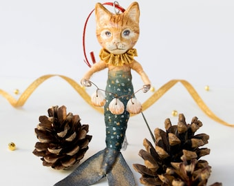Handmade ginger mermaid cat art doll. Spun cotton hanging ornament. Cat lover gift. Timeless treasure. Christmas tree decoration.