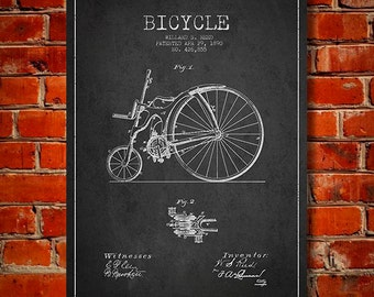 1890 Bicycle Patent Canvas Print, Wall Art, Home Decor, Gift Idea