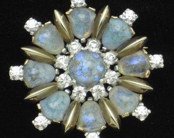 Vintage MAZER BROS Blue Brooch Pin Art Glass Rhinestone Gold Plated Pristine