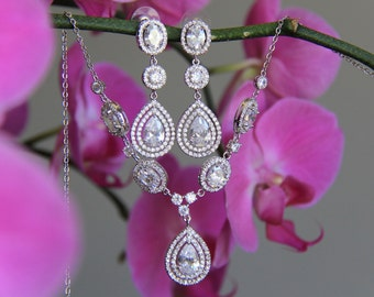 Bridal jewelry set - necklace and earrings, wedding,CZ jewelry, wedding jewelry, bridal jewelry, wedding necklace, wedding earrings