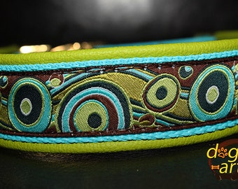 """Dog Collar """"Bubbles"""" by dogs-art, leather dog collar, brass dog collar, dog collar, boy dog collar, dog collar leather, colorful dog collar"""
