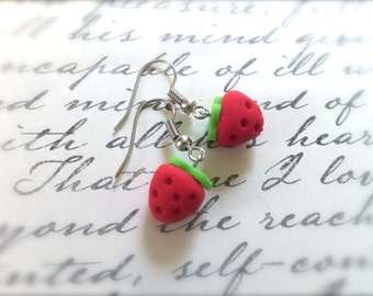Tiny Strawberry Dangle Earrings. Red. Green. Polymer Clay Food Jewelry. Fruit. Summer. Under 5 Gifts for Her. Whimsical. Berry. Silver.