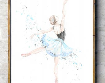 Dancing Ballerina in Blue Tutu - whimsical watercolor print, ballet dancer on pointe, splatter painting, slightly abstract wall art