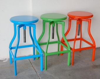 """Custom Painted Toledo Adjustable Style Stool in the Color of your Choice 18"""" - 24"""" Counter Height"""
