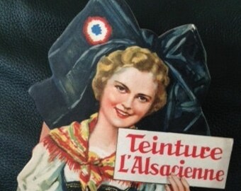 Pair of 1930's French color advertising women figures