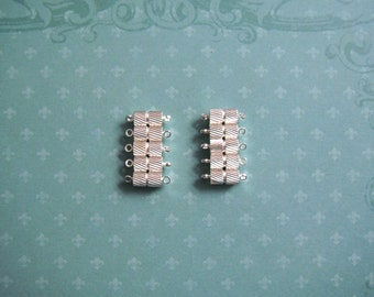 Magnetic Clasp 9X5mm Silver Plated Fluted Pack Of 10 Sets